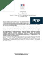 Chômage en France - Communiqué de François Rebsamen