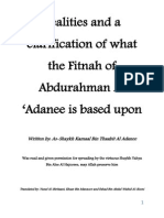 Realities and a clarification of what the Fitnah of Abdurahman Al 'Adanee is based upon