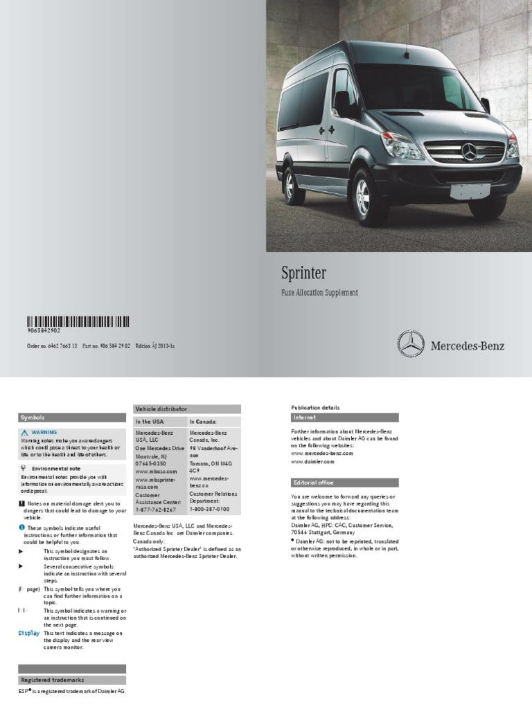 2013 Mercedes Benz Fuse Electrical Pre Box