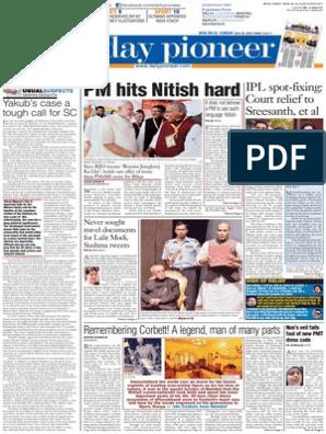 Daily pioneer 26-07-2015 | Narendra Modi | Police