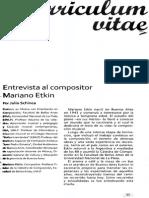 Entrevista al compositor Mariano Etkin, por Julio Schinca
