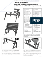 Childrens Convertible Picnic Table Garden Bench Assembly