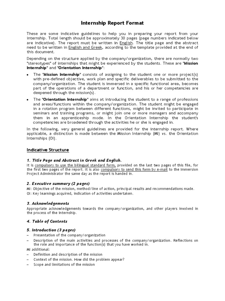 Internship report format | Internado | Gestión estratégica