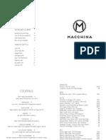 Macchina Wine Menu