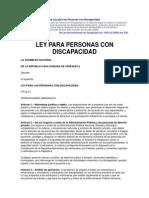 Gaceta Oficial Nº 38.598. Ley Personas Discapacidad
