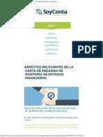 Aspectos Relevantes de La Carta de Encargo de Auditoría de Estados Financieros