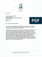 Invite Letter From Mayor John Tory to the Secretary-General of the BIE Bureau International Des Expositions (July 2015) (2)