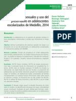 Prácticas sexuales y uso del preservativo en adolescentes escolarizados de Medellín, 2014