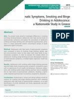 Psychosomatic Symptoms, Smoking and Binge Drinking in Adolescence