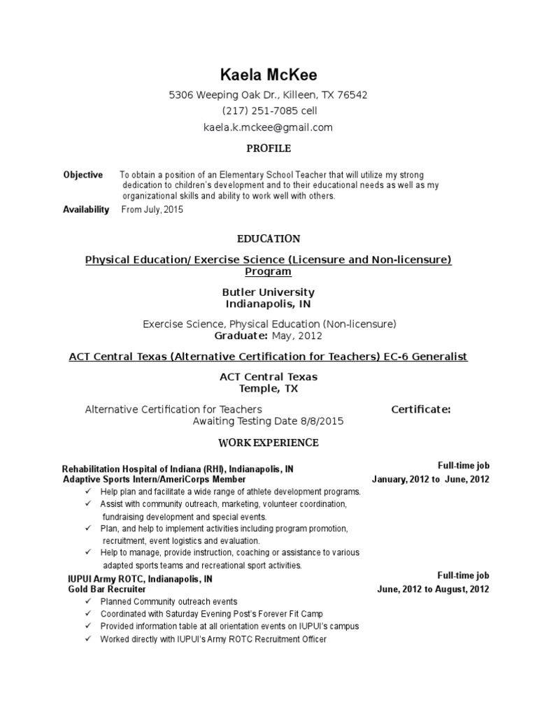 Resume For Act Quality Of Life Cognition