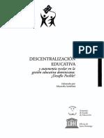 DESCENTRALIZACION EDUCATIVA y Autonomia Escolar en La Gestion Educativa Dominicana
