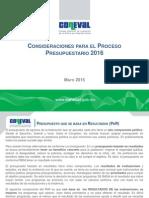 Consideraciones presupuestales para 2016