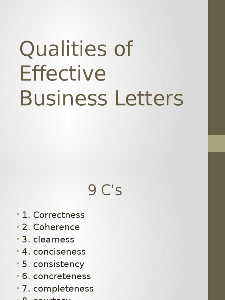 Qualities Of Effective Business Letters | Philology | Linguistics