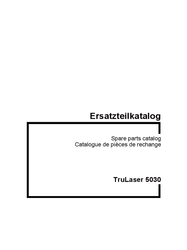 TruLaser 5030 Spare parts catalogue