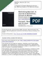 Foucault, Governmentality and critique- Lemke