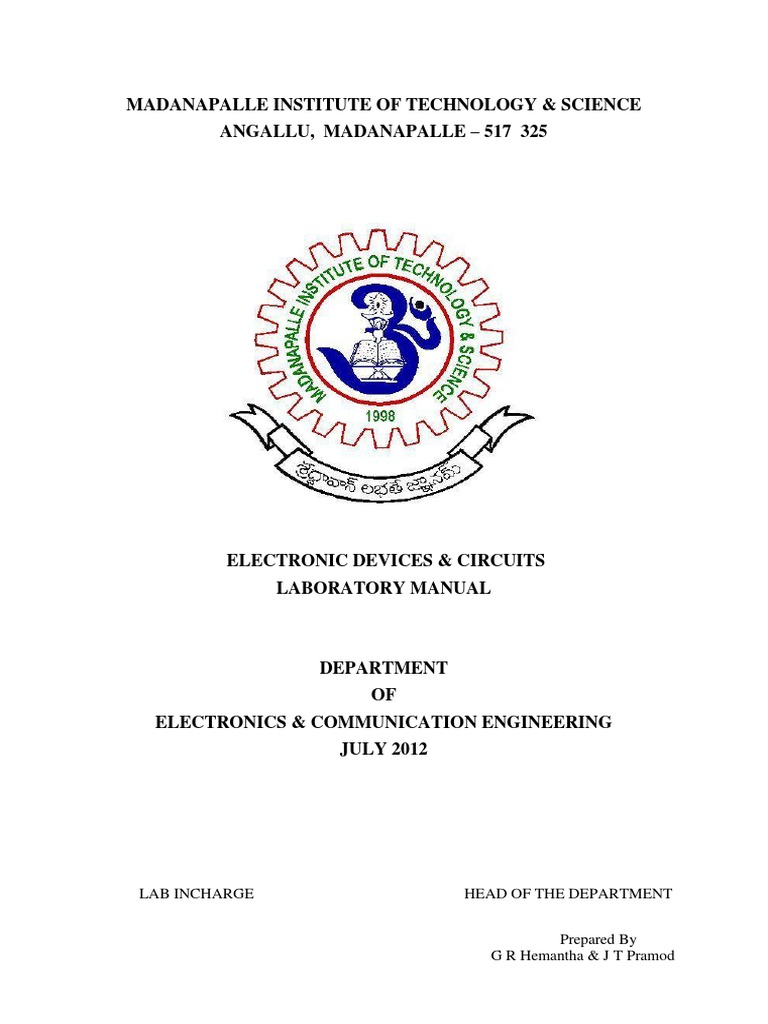 Electronic Devices _ Circuits Lab Manual | Field Effect Transistor | P–N  Junction