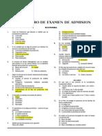 Simulacro de Examen de Admision