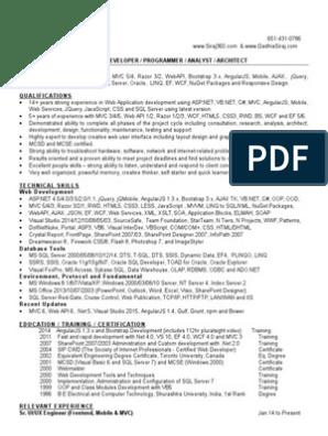 Siraj Gadhia Resume | Web Application | Microsoft Sql Server