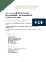 Metallic Zinc Exhibits Optimal Biocompatibility for Bioabsorbable Endovascular Stents