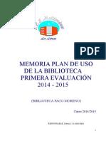Memoria Plan de Trabajo Biblioteca Primer Trimestre 1415 en Construcción