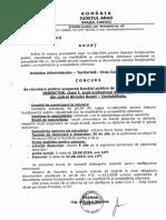 Concurs de recrutare pentru ocuparea funcției de ASISTENT INSPECTOR din cadrul biroului BUGET – CONTABILITATE