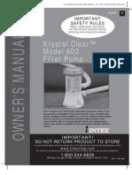 Intex Metal Frame Pool Set - Krystal Clear Model 603 Filter Pump - Owner's Manual