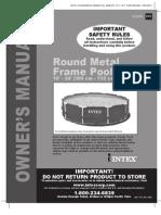 Intex Metal Frame Pool Set - Round Metal Frame Pool 10'-24' Models - Owner's Manual