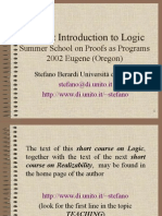 A Short Introduction To Logic Eugene 2002