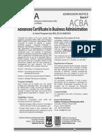 ACBA Admission Notice