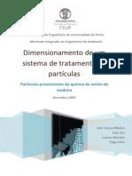 Dimensionamento de um sistema de tratamento de partículas - queima de serrim