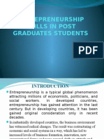 Entrepreneurship Skills in Post Graduate's Students