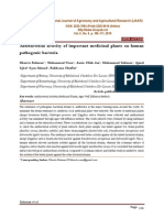 Antibacterial activity of important medicinal plants on human pathogenic bacteria
