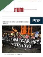 Dez Anos de Cotas Nas Universidades_ o Que Mudou_ - Revista Fórum Semanal