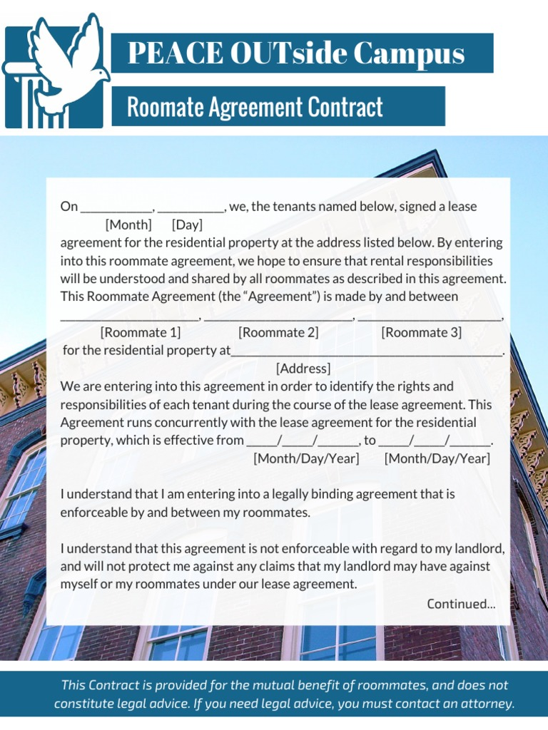 Peace Outside Campus Roommate Contract Lease Roommate