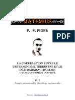 Pierre Vincenti Piobb La Correlation Entre Le Determinisme Terrestre Et Le Determinisme Humain Theorie Du Moment Cosmique