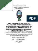 Aplicacion del metodo de valoracion contingente en la ciudad de La Paz