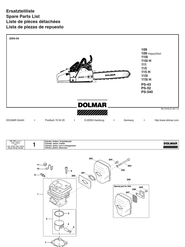 dolmar parts manual for chainsaw models 109 110 111 115 and ps 540