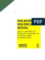 Violencia Sexual y Violacion, Aministia Intern.