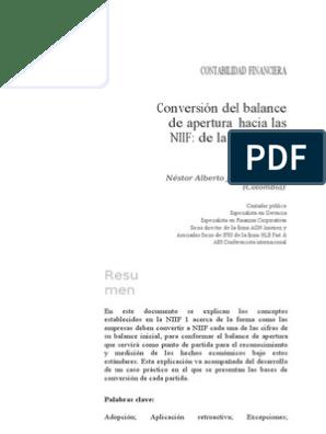 Conversion Del Balance De Apertura Segun Las Niif Normas
