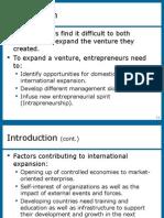 Lecture on International Entrepreneurship Opportunities.