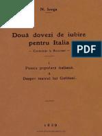 Două Dovezi de Iubire Pentru Italia - Conferinţe La Bucureşti - N. Iorga