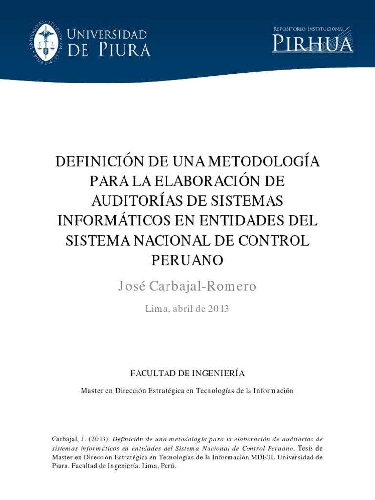 DEFINICIÓN DE UNA METODOLOGÍA PARA LA ELABORACIÓN DE AUDITORÍAS DE ...