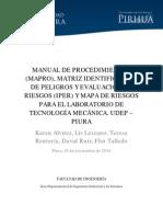 MANUAL DE PROCEDIMIENTOS (MAPRO), MATRIZ IDENTIFICACIÓN DE PELIGROS Y EVALUACIÓN DE RIESGOS (IPER) Y MAPA DE RIESGOS PARA EL LABORATORIO DE TECNOLOGÍA MECÁNICA. UDEP – PIURA
