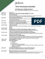 2015 orientation schedule
