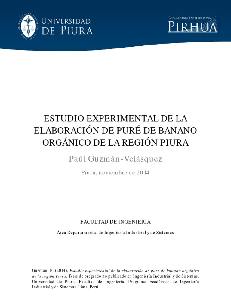estudio experimental de la elaboración de puré de banano orgánico ...