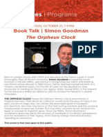 Simon Goodman, The Orpheus Clock Book Talk