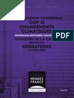 Programme de L'Espace Mendès France, septembre 2015
