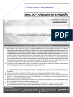 Cespe 2013 Trt 8 Regiao Pa e AP Tecnico Judiciario Area Administrativa Prova
