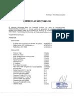Certificado Vendor