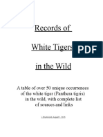 Records of White Tigers in the Wild
